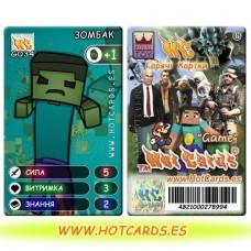 HotCards-HotCards-ХотКардс Minecraft(майнкрафт)ХотКардс G034 ЗОМБАК Відео Ігри-M (Б)(50/400)