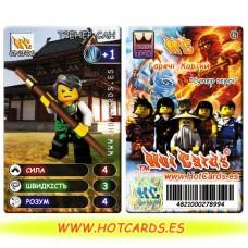 HotCards-ХотКардс NinjaGo(ниндзяго) CNJ06 ТРЕНЕР САН Супер Герої(Б)(50/400)